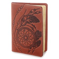 Leather Passport Holder - Dreamcatcher - Red - Shvigel 13792