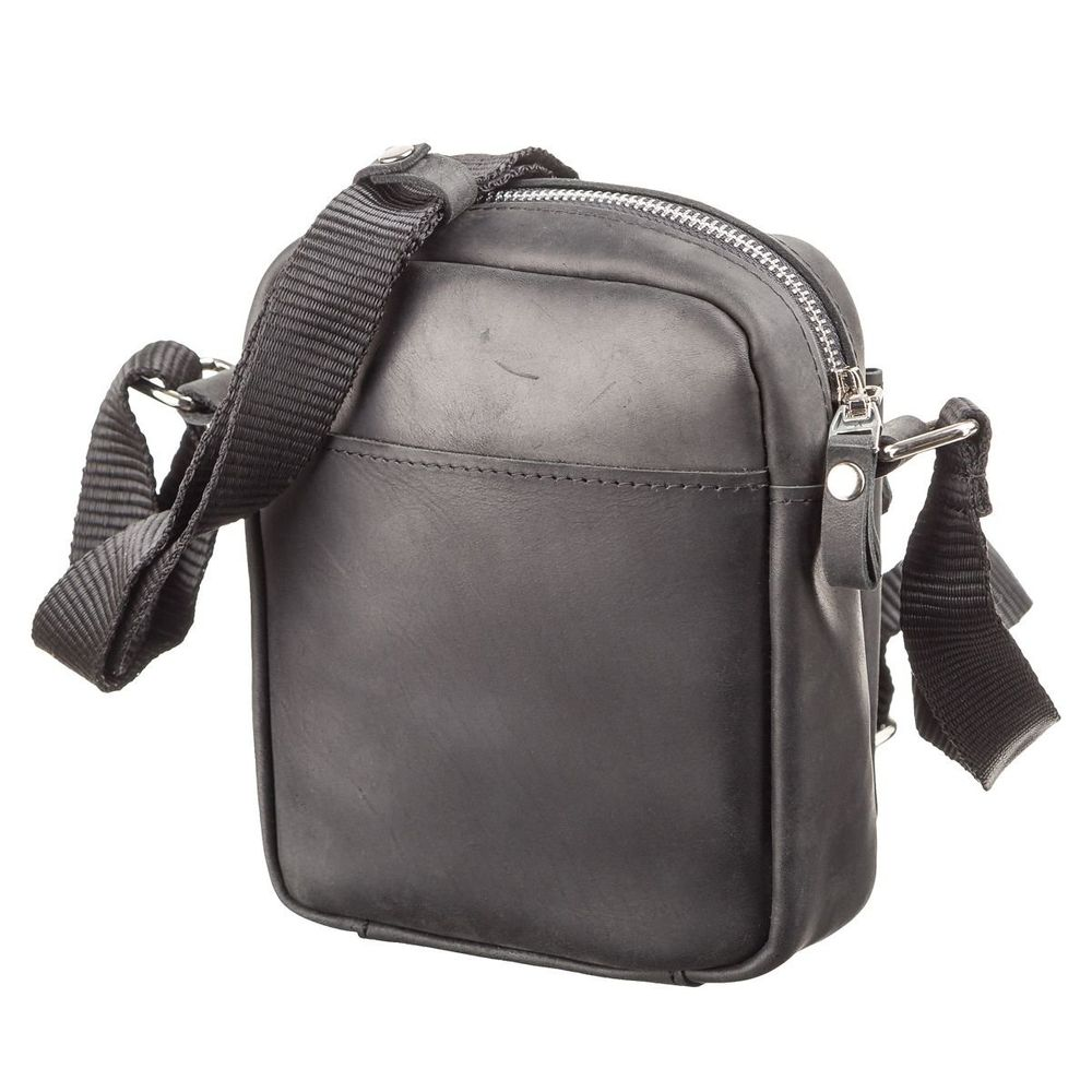 Crazy-horse leather men's bag - Black - SHVIGEL 11076, Черный